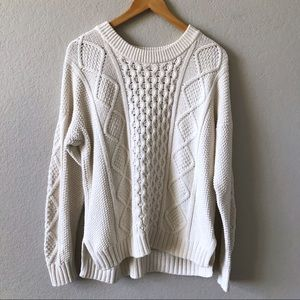 MADEWELL Ivory Cable Jumper Pullover Sweater L